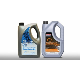 No Smoking Engine Oil - Stops your Engine Smoking Permanently SAE 10W 40 With 4.54L Flush Oil